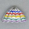 Handpainted Porcelain Beads, White, Colorful stripe, Umbrella, Triangle, Approx 27x17x10mm, Hole: Approx 2mm, Sold by PCS