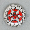 Handpainted Porcelain Beads, White, Red flower, Side drilled coin disc, Flat Round, Approx 20x6mm, Hole: Approx 2mm, Sold by PCS