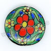 Handpainted Porcelain Beads, Green, Red yellow flower, Side drilled coin disc, Flat Round, Approx 20x6mm, Hole: Approx 2mm, Sold by PCS