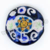 Handpainted Porcelain Beads, Blue ink, Orange sun smile face flower, Side drilled coin disc, Flat Round, Approx 20x6mm, Hole: Approx 2mm, Sold by PCS
