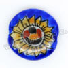 Handpainted Porcelain Beads, Royal blue, Yellow sunflower smile face, Side drilled coin disc, Flat Round, Approx 20x6mm, Hole: Approx 2mm, Sold by PCS