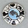 Handpainted Porcelain Beads, White, Dolphin fish animal heart, Side drilled coin disc, Flat Round, Approx 20x6mm, Hole: Approx 2mm, Sold by PCS
