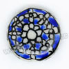 Handpainted Porcelain Beads, Royal blue, White flower, Side drilled coin disc, Flat Round, Approx 20x6mm, Hole: Approx 2mm, Sold by PCS
