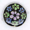 Handpainted Porcelain Beads, Black, Purple green blue flower, Side drilled coin disc, Flat Round, Approx 20x6mm, Hole: Approx 2mm, Sold by PCS