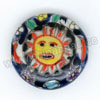 Handpainted Porcelain Beads, Blue ink, Yellow sun smile face flower, Side drilled coin disc, Flat Round, Approx 20x6mm, Hole: Approx 2mm, Sold by PCS