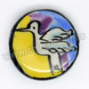 Handpainted Porcelain Beads, Colorful, White crane bird animal, Side drilled coin disc, Flat Round, Approx 20x6mm, Hole: Approx 2mm, Sold by PCS