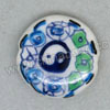 Handpainted Porcelain Beads, White, The eight diagrams, Side drilled coin disc, Flat Round, Approx 20x6mm, Hole: Approx 2mm, Sold by PCS
