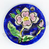 Handpainted Porcelain Beads, Royal blue, Pink flower, Flat Round, Approx 35x7mm, Hole: Approx 2mm, Sold by PCS