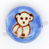 Handpainted Porcelain Beads, Blue, White bear animal, Side drilled coin disc, Flat Round, Approx 18x10mm, Hole: Approx 2mm, Sold by PCS