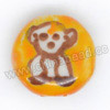 Handpainted Porcelain Beads, Orange, White bear animal, Side drilled coin disc, Flat Round, Approx 18x10mm, Hole: Approx 2mm, Sold by PCS