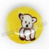 Handpainted Porcelain Beads, Citron yellow, White bear animal, Side drilled coin disc, Flat Round, Approx 18x10mm, Hole: Approx 2mm, Sold by PCS