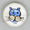 Handpainted Porcelain Beads, White, Cool dog face animal, Side drilled coin disc, Flat Round, Approx 18x10mm, Hole: Approx 2mm, Sold by PCS
