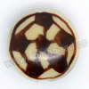 Handpainted Porcelain Beads, Light camel, Brown football, Side drilled coin disc, Flat Round, Approx 18x9mm, Hole: Approx 2mm, Sold by PCS