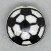 Handpainted Porcelain Beads, White, Football, Side drilled coin disc, Flat Round, Approx 18x9mm, Hole: Approx 2mm, Sold by PCS
