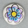 Handpainted Porcelain Beads, White, Blue flower, Side drilled coin disc, Flat Round, Approx 20x6mm, Hole: Approx 2mm, Sold by PCS