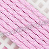 Cord Thread & Wire, Round PU Woven Cord, Pink, Approx 4mm, 100 yards per spool, Sold by spools
