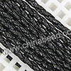 Cord Thread & Wire, Round PU Woven Cord, Black, Approx 4mm, 100 yards per spool, Sold by spools