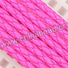Cord Thread & Wire, Round PU Woven Cord, Hot pink, Approx 4mm, 100 yards per spool, Sold by spools