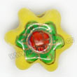 Handpainted Porcelain Beads, Citron yellow, Green flower, Other, Approx 17x15x7mm, Hole: Approx 2mm, Sold by PCS