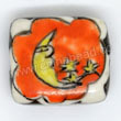 Handpainted Porcelain Beads, Orange, Yellow moon star, Other, Approx 17x15x6mm, Hole: Approx 2mm, Sold by PCS