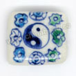 Handpainted Porcelain Beads, White, The eight diagrams, Other, Approx 17x15x6mm, Hole: Approx 2mm, Sold by PCS