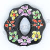 Handpainted Porcelain Beads, Black, Flower, Donut circle, Other, Approx 20x20x5mm, Hole: Approx 2mm, Sold by PCS