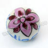 Handpainted Porcelain Beads, White, Purple flower, Round, Other, Approx 16mm, Hole: Approx 2mm, Sold by PCS