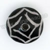 Handpainted Porcelain Beads, Black and white, Abstract painting, Saucer, Other, Approx 16x11mm, Hole: Approx 2mm, Sold by PCS