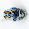 Handpainted Porcelain Beads, White, Pink flower, Bicone, Other, Approx 18x12mm, Hole: Approx 2mm, Sold by PCS