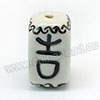 "Handpainted Porcelain Beads, White, ""Everything goes well"" Chinese symbol, Other, Approx 23x13mm, Hole: Approx 2mm, Sold by PCS"