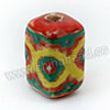 Handpainted Porcelain Beads, Red, Yellow green abstract painting, Other, Approx 16x10mm, Hole: Approx 2mm, Sold by PCS