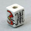 Handpainted Porcelain Beads, White, Red bat animal Longevity Chinese symbol, Other, Approx 12x9mm, Hole: Approx 2mm, Sold by PCS