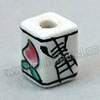 Handpainted Porcelain Beads, White, Pink peach Longevity Chinese symbol, Other, Approx 12x9mm, Hole: Approx 2mm, Sold by PCS