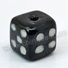 Handpainted Porcelain Beads, Black, White dots dice, Other, Approx 10x10mm, Hole: Approx 2mm, Sold by PCS