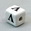 Handpainted Porcelain Beads, White, The letter V, Other, Approx 10x10mm, Hole: Approx 2mm, Sold by PCS