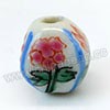Handpainted Porcelain Beads, White, Pink peony lotus yellow wintersweet flower, Lantern, Other, Approx 10x9mm, Hole: Approx 2mm, Sold by PCS