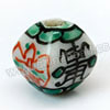 Handpainted Porcelain Beads, White, Longevity Chinese symbol Bat animal, Lantern, Other, Approx 10x9mm, Hole: Approx 2mm, Sold by PCS