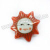 Handpainted Porcelain Beads, Maroon, Smiling sun face, Other, Approx 25x25x10mm, Hole: Approx 2mm, Sold by PCS