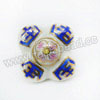 Handpainted Porcelain Beads, White, Pink flower Lucky symbol, Other, Approx 26x26x16mm, Hole: Approx 2mm, Sold by PCS