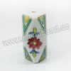 Handpainted Porcelain Beads, White, Pink Flower, Faceted cuboid, Other, Approx 31x15x15mm, Hole: Approx 2mm, Sold by PCS