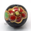 Handpainted Porcelain Beads, Black, Red flower, Gold decoration, Round, Approx 6mm, Hole: Approx 2mm, Sold by PCS