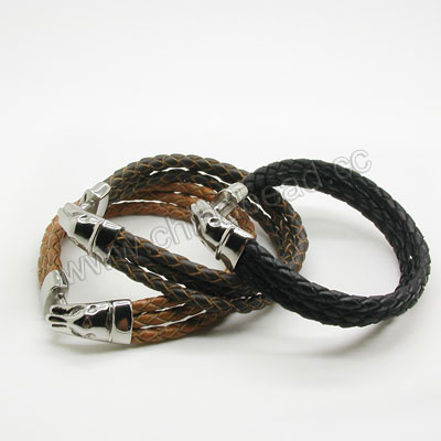 Fashion Bracelets, Hand-knitted leather lace bracelet with tiger head stainless steel buckle, Black, Approx 70mm in diameter, Sold by strands