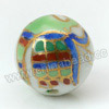 Handpainted Porcelain Beads, White, Colorful peacock animal, Gold decoration, Round, Approx 14mm, Hole: Approx 2mm, Sold by PCS