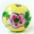 Handpainted Porcelain Beads, Citron yellow, Pink blue green flower, Gold decoration, Round, Approx 16mm, Hole: Approx 2mm, Sold by PCS