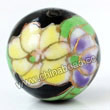 Handpainted Porcelain Beads, Black, Yellow purple flower colorful butterfly animal auspicious clouds, Gold decoration, Round, Approx 16mm, Hole: Approx 2mm, Sold by PCS