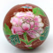 Handpainted Porcelain Beads, Maroon, Pink peony flower colorful butterfly animal auspicious clouds, Gold decoration, Round, Approx 34mm, Hole: Approx 2mm, Sold by PCS