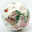 Handpainted Porcelain Beads, White, Pink dragon animal red fire auspicious clouds, Gold decoration, Round, Approx 32mm, Hole: Approx 2mm, Sold by PCS