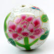 Handpainted Porcelain Beads, White, Pink peony flower auspicious clouds, Gold decoration, Round, Approx 30mm, Hole: Approx 2mm, Sold by PCS