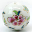 Handpainted Porcelain Beads, White, Pink blue flower, Gold decoration, Round, Approx 30mm, Hole: Approx 2mm, Sold by PCS