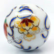 Handpainted Porcelain Beads, White, Orange yellow peony flower blue leaf, Gold decoration, Round, Approx 30mm, Hole: Approx 2mm, Sold by PCS